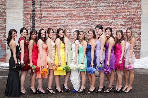 Colorful bridesmaid dresses – Somewhere over the Rainbow!